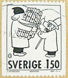 Swedish christmas postage stamp featuring Silent Sam (orig. Adamson) by Oscar Jacobsson.