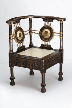 1895 aesthetic chair, C Bugatti, Italy, wood,metal,vellum, V&A. http://www.ebay.com/usr/circa19century