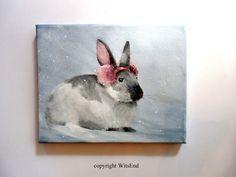 'EDWINA'S EARS'  winter snow Bunny Rabbit painting original Nursery art by 4WitsEnd, via Etsy