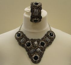 Hand made statement bib necklace & bangle on velvet backing £18.50.FREE POSTAGE