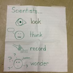 Science anchor chart for Kindergarten