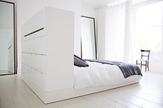 White bedroom suite by architect Cathie - Bedroom Ideas 2019 White Bedroom Suite, Master Bedroom Closet, Small Room Bedroom, Closet Bedroom, Bedroom Storage, Dream Bedroom, Home Bedroom, Modern Bedroom, Bedrooms