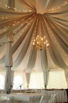 Perfect tented set up for an outdoor reception. The gold lights create the ambiance inside of the partially enclosed room. Absolutely gorgeous.