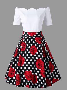 Only US17.41, buy L off shoulder polka dot roses print vintage dress at online vintage dresses shop, sammydress.com Mobile.