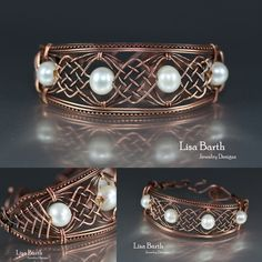 Hand woven copper bracelet with pearls. It was hard not to scratch or break the pearls while weaving the wire. Quite a challenging piece. -Lisa Barth