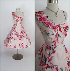 "ANNA of VIENNA 1950's Vintage Pink Silk Floral Hawaiian 3D Cocktail Dress 25"" Waist"