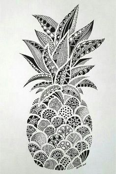 Black and white pineapple doodle zentangle art #zentangle #art #penandink