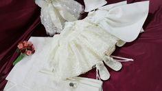 Trusou botez -Christianing layette Baptism Clothes, Baptism Outfit, Girls Dresses, Flower Girl Dresses, Wedding Dresses, Fashion, Layette, Bride Dresses, Moda