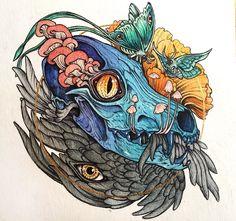 Contemporary Mythology: the Art of Caitlin Hackett Dark Artwork, Creature Concept, Contemporary Paintings, Cute Art, Animals Beautiful, Art Inspo, Alice In Wonderland, Mythology, Art Drawings