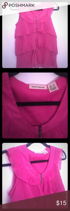 DKNY Jeans Hot Pink Layered Blouse DKNY Jeans Hot Pink Layered Blouse. Size small. Centered zipper. 100% Polyester DKNY Tops Blouses