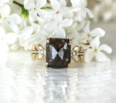 Rose Cut Diamond Engagement Ring. Chocolate Brown Cushion Cut Diamond in a 14k Yellow Gold with White Diamonds.  Unique engagement ring. on Etsy, $2,465.00