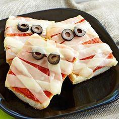 Pizza de múmia para o halloween  #halloween
