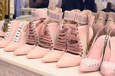 Lace-up heels at Rihanna's Fenty x Puma SS17 show in Paris