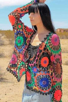 "Örgü ""Rainbow Boho Crocheted Cardigan by desertedgoods"" Crochet Coat, Crochet Jacket, Crochet Cardigan, Crochet Shawl, Crochet Clothes, Pullover Rock, Moda Crochet, Freeform Crochet, Beautiful Crochet"