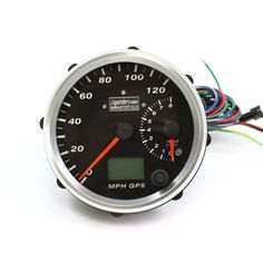"4"" Chrome w/ Black Face Legendary Motorcycles Electronic GPS Speedometer/Tachometer"
