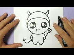 how to draw so cute halloween devil on paper Kawaii Halloween, Cute Halloween Drawings, Halloween Doodle, Halloween Pictures, Easy Halloween, Halloween Stuff, Easy Drawings Sketches, Cartoon Sketches, Kawaii Drawings