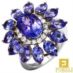 Tanzanite and Diamond Ring in 14KT White Gold