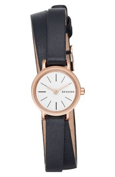 Free shipping and returns on Skagen Hagen Round Wrap Leather Strap Watch, 20mm at Nordstrom.com. Elegant and simple in the Danish tradition, this small watch is doubly wrapped in supple leather.