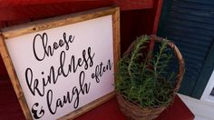 Choose Kindness and Laugh Often...Family Room Sign, Quote Sign, Wedding Gift, Housewarming Gift, Wooden Sign by DoubleOakVintage on Etsy
