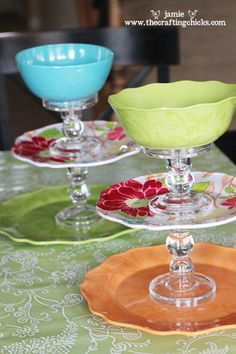 DIY Treat Stands ~ Plates and bowls of your choice (a big one for the bottom, smaller one for the center and a bowl for the top) or you really could mix it up, Candlestick holders (a larger and smaller one) and Strong Glue like E-6000 or Gorilla Glue