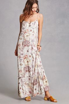 A crinkled woven maxi dress featuring a floral print 531287a7d