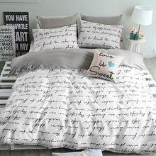 Высокое качество хлопка пододеяльники набор, Серый буквы постельные принадлежности, Двойной одного пододеяльники…