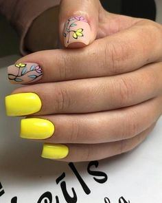 Bright yellow manicure with two accent matte nails and colorful leaves and flowers Nails Yellow, Yellow Nails Design, Spring Nails, Summer Nails, Love Nails, My Nails, Nail Deco, Short Square Nails, Short Nails