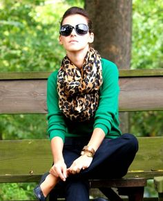 green cardigan, dark blue trousers & leopard print scarf