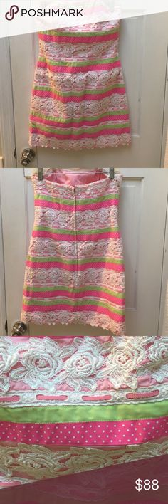 Pink green and white Lilly Pulitzer dress Pink green and white Lilly Pulitzer ribbon dress. Good condition. 100% cotton. Lilly Pulitzer Dresses Mini