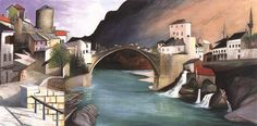 Csontváry Kosztka, Tivadar (Hungarian, - Roman Bridge at Mostar Budapest, Rio Grande, Sunny Afternoon, Post Impressionism, Art Database, His Travel, Hanging Art, Nocturne, Pilgrimage