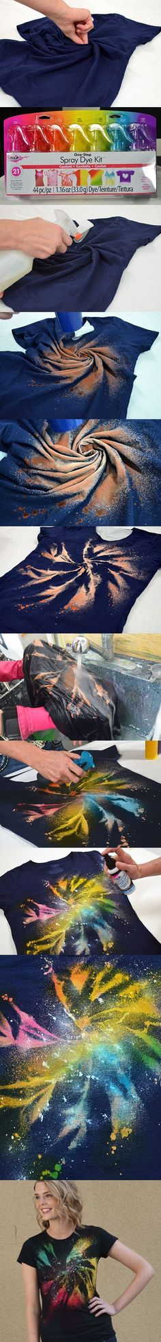 Twist shirt, spray bleach, then add colors...or just leave bleached. Fun activity for the kids while at the cabin! by Superduper