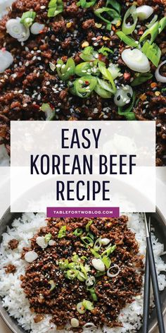 Korean Beef - Easy Korean Ground Beef Recipe Korean Beef - Easy Korean Ground Beef RecipeYou can find Ground beef recipes and more on our website.Korean Beef - Easy Korean Ground Beef Re. Korean Beef Recipes, Healthy Beef Recipes, Minced Beef Recipes Easy, Korean Beef Bowl, Easy Asian Recipes, Beef Mince Recipes, Asian Dinner Recipes, Simple Easy Dinner Recipes, Quick Easy Dinners For Two