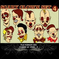 Realistic Graphic DOWNLOAD (.ai, .psd) :: http://hardcast.de/pinterest-itmid-1000406938i.html ... Clowns Vector Set 4 ...  circus, clown, colored costumes, comic, coulrophobia, fear, freakshow, fun, horror, it, large footwear, outlandish costumes, red nose, scary clowns, stylistic make-up, thriller, whiteface  ... Realistic Photo Graphic Print Obejct Business Web Elements Illustration Design Templates ... DOWNLOAD :: http://hardcast.de/pinterest-itmid-1000406938i.html