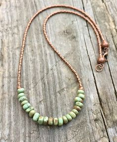 Turquoise necklace, rustic jewelry, green turquoise and copper – Rustica Jewelry