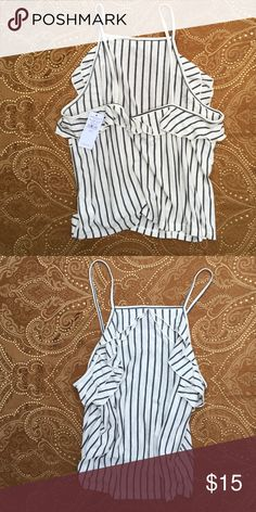 Tank top! NWT Super cute and soft, ruffled, high neck tank top. Faded like black stripes. Perfect fit for high waisted bottoms. American Eagle Outfitters Tops