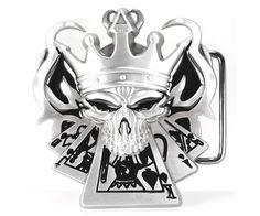 Jester Skull with Straight Flush of Spades Belt Buckle #belt  #painfulpleasures #beltbuckles #buckles #tattoo #fashion #piercing #tattoofashion #inked #skull