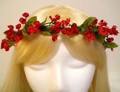 Flower Crown Head Wreath Small Red Flowers Valentines Day Wedding Bride Flower Girl Hair & Headpiece Christmas Holiday Angel Kawaii (20.00 USD) by MyFairyJewelry