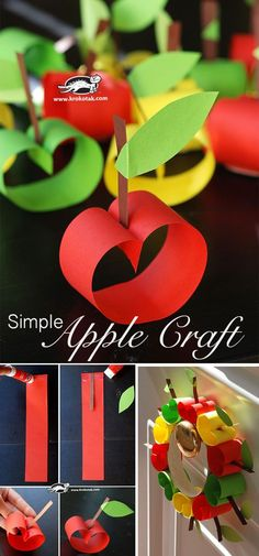 Most Popular Teaching Resources: Simple Apple Craft (krokotak) Kids Crafts, Fall Crafts For Kids, Diy For Kids, Diy And Crafts, Arts And Crafts, Paper Crafts, Kids Fun, Apple Activities, Autumn Activities