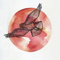 geometric eagle and watercolor