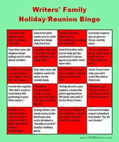 Are you a writer, stressed about facing the family over the Holidays?  Here is instant stress relief for you in the form of Writers' Family Holiday Bingo