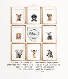 *** This listing is for a set of 8 printable designs - youll receive all 8 designs in all sizes with your purchase, via a single download link *** WOULD YOU LIKE TO CHOOSE YOUR OWN SET? Add any 8 baby animal printables to your cart and use coupon code 8BABYANIMALS at checkout for a discount! See all animals here: https://www.etsy.com/shop/TheCrownPrints?ref=hdr_shop_menu&section_id=19853017 This high-resolution PRINTABLE art is available to download automat...