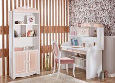 LILYA Çalışma Masası ve Kitaplık yüksek raf düzenleri ve çekmeceleri ile kullanışlı ve konforlu bir çalışma grubudur.