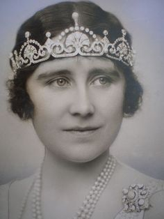 Lady Elizabeth Bowes Lyon (later Duchess of York and Queen Elizabeth) she is wearing the Lotus Leaf tiara.