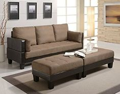 Ellesmere Contemporary Sofa Bed Group with 2 Ottomans by Coaster - Good Deal Charlie Discount - Sectional Sofas Sofa Bed Set, Ottoman Sofa, Upholstered Sofa, Sofa Sleeper, Bed Couch, Large Ottoman, Brown Sectional Sofa, Brown Sofa, Fabric Sectional