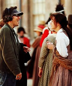Keira Knightley and Joe Wright on the set of Pride and Prejudice