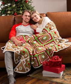 Gingerbread House Throw Free Crochet Pattern in Red Heart Yarns