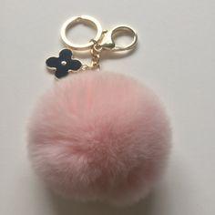 Light pink pom pom keychain REX Rabbit fur pom pom ball with flower bag charm