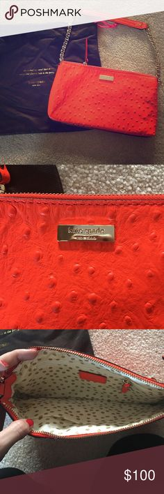REDUCED 💃🏻Coral/bright orange ostrich Kate Spade Ostrich leather bright orangey coral Kate spade purse great condition! Comes with dust bag kate spade Bags Mini Bags