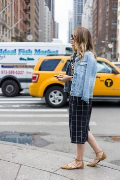 Checkered dress with jean jacket. Perfect site seeing look!