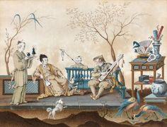 Ecole Française vers 1770, - Le concert chinois - Le Déjeuner chinois - Paire [...], Tableaux Anciens, Objets d'Art, Bel Ameublement à Eve Enchères SVV   Auction.fr
